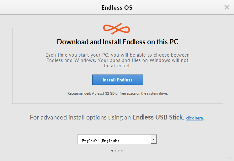 run the installer and select install endless